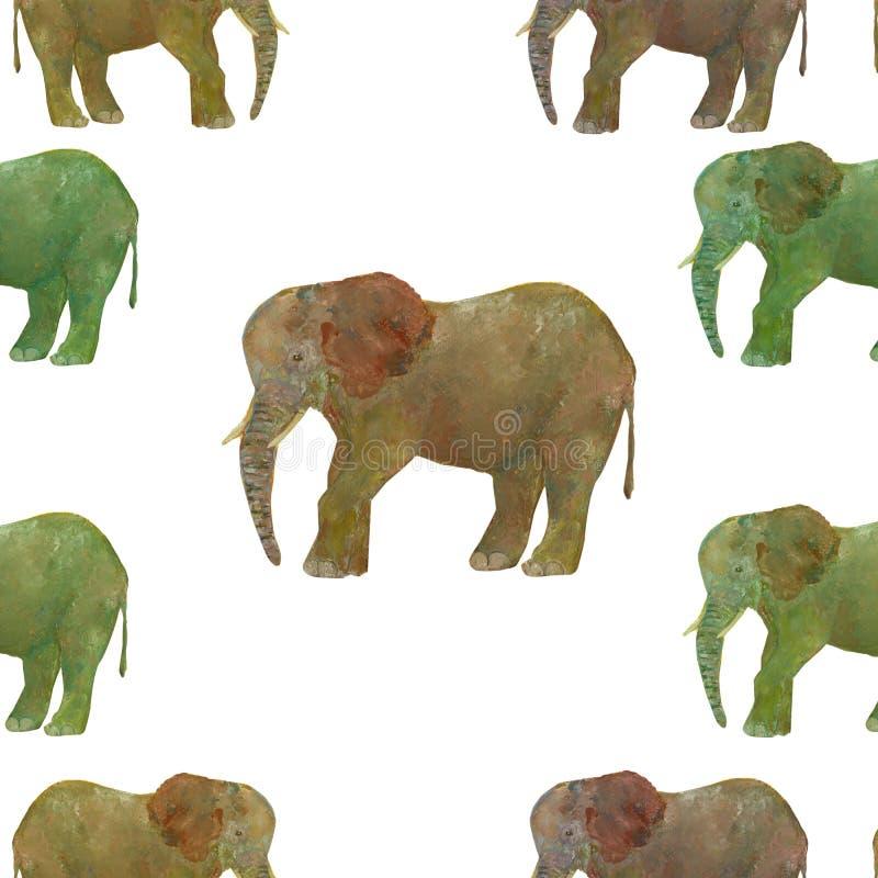 Слон Акварель картины конспекта животная безшовная на серой предпосылке иллюстрация штока