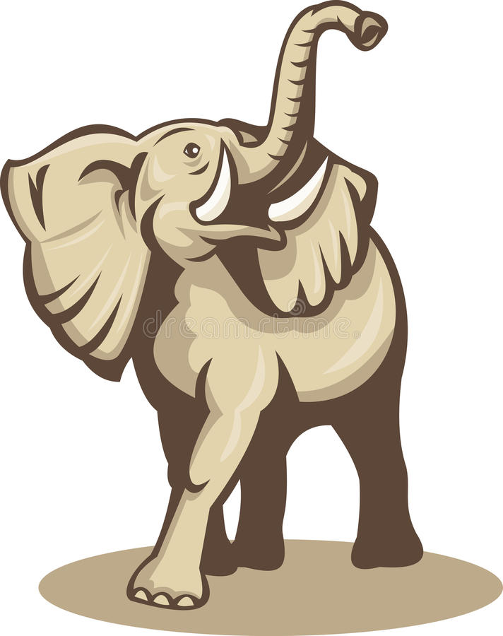 слон африканца атакуя поручая бесплатная иллюстрация