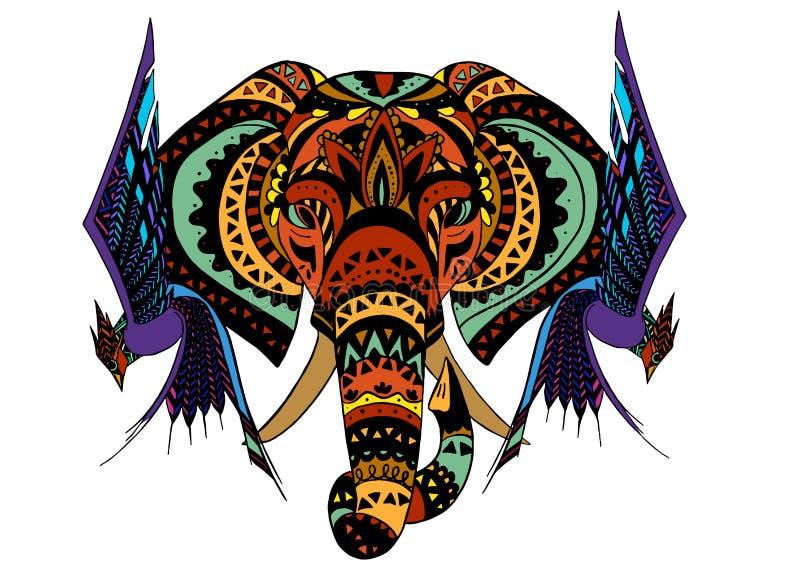 Слон винтажного графического лотоса вектора индийского этнический Африканский племенной орнамент иллюстрация вектора