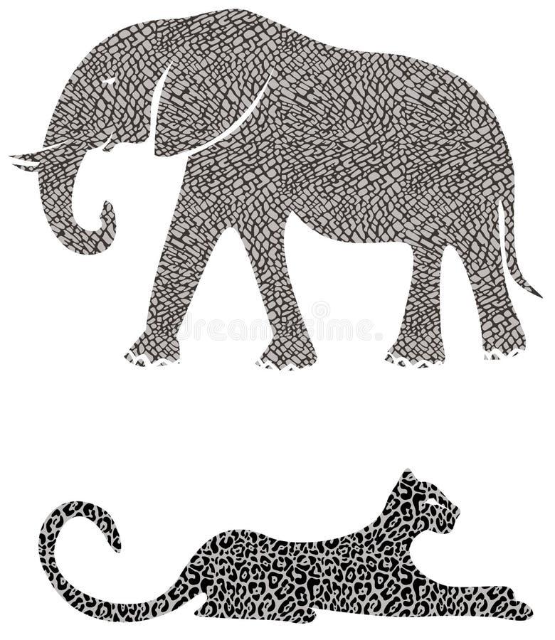 слон гепарда иллюстрация штока
