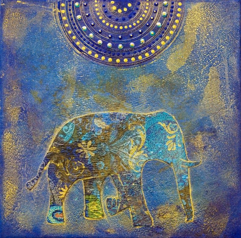 слон коллажа иллюстрация вектора