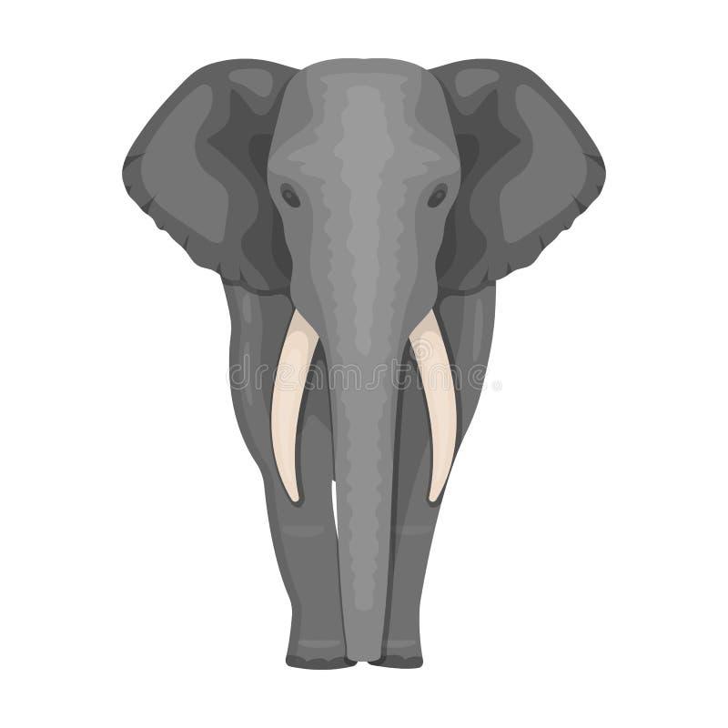 Слон, самое большое дикое животное Африканский слон с бивнями определяет значок в запасе символа вектора стиля шаржа иллюстрация штока