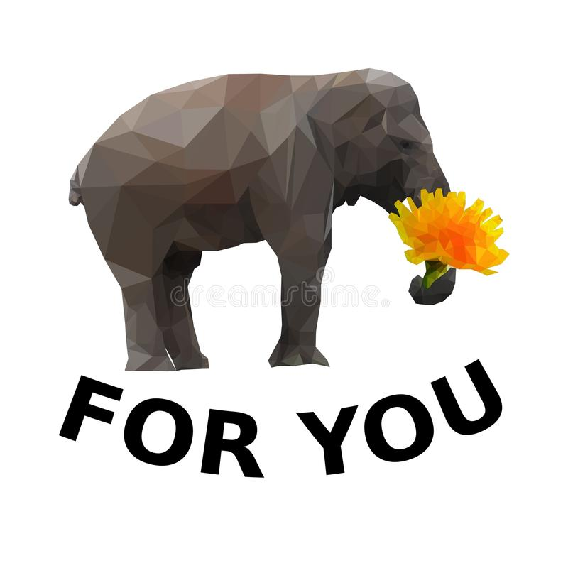 Слон с цветком в хоботе также вектор иллюстрации притяжки corel иллюстрация вектора