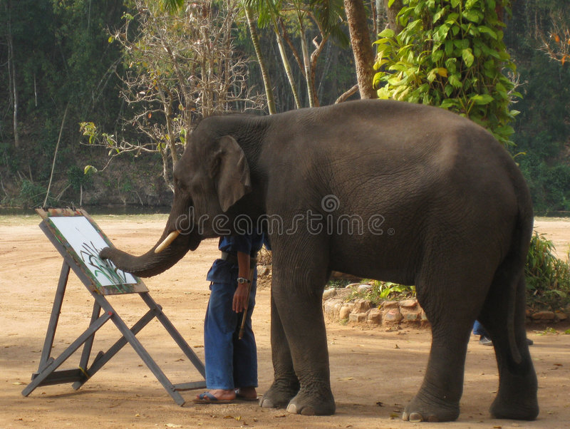 слон художника стоковое изображение
