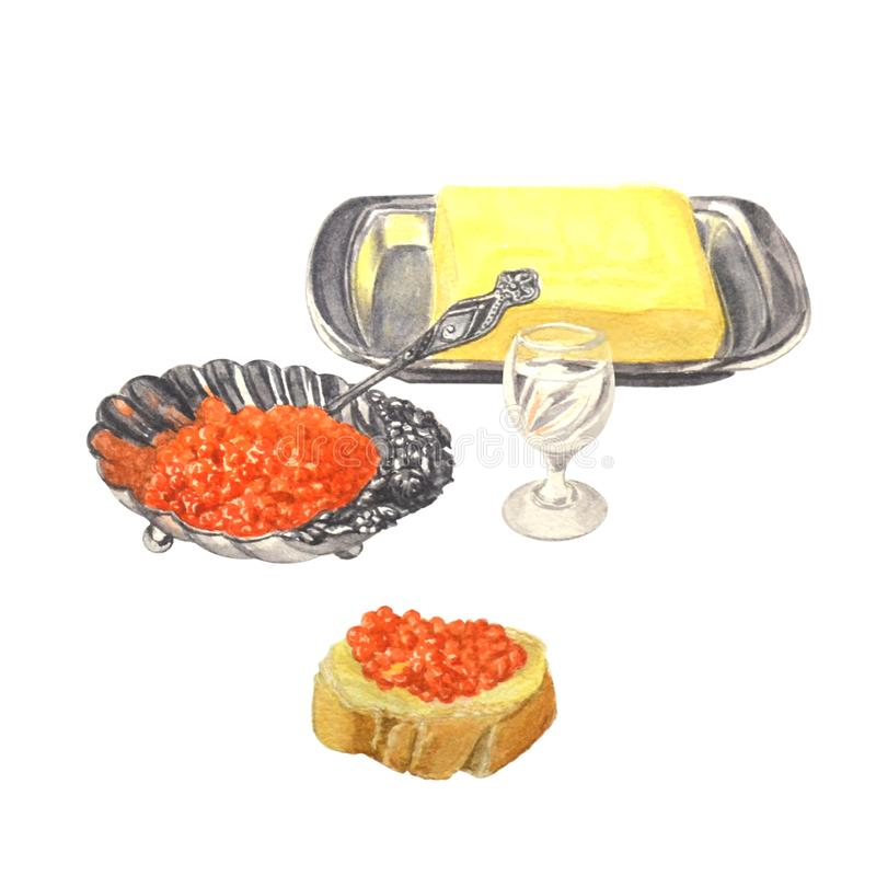 Служат таблица с икрой, маслом, сэндвичем и русской водкой для еды бесплатная иллюстрация