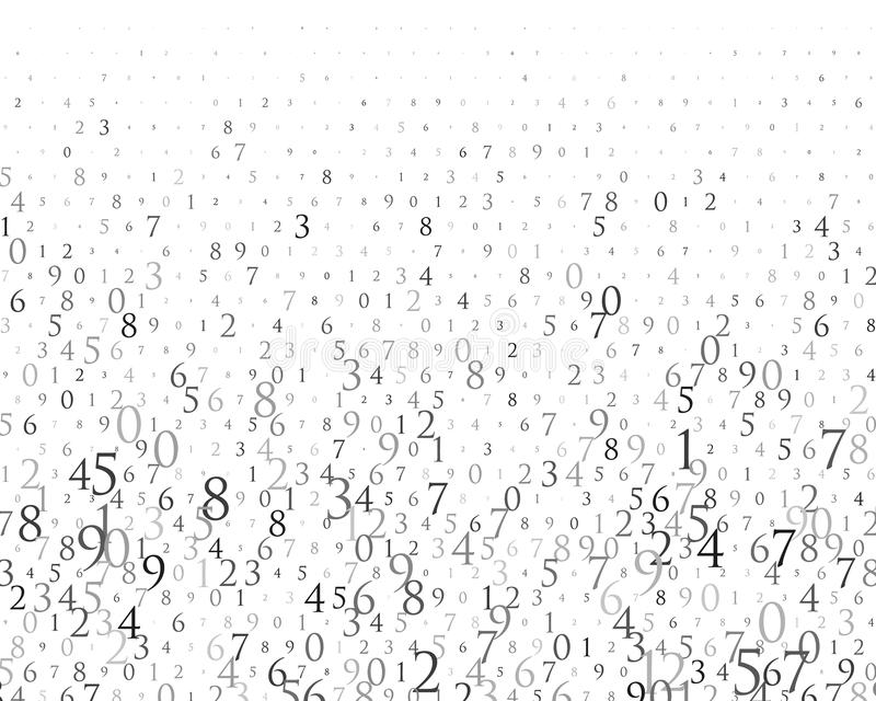 Случайные номера 0 и 9 Предпосылка в стиле матрицы Картина бинарного кода с числами на экране, падая характере иллюстрация вектора