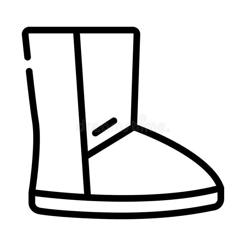 Случайный значок ботинка ugg, стиль плана иллюстрация вектора