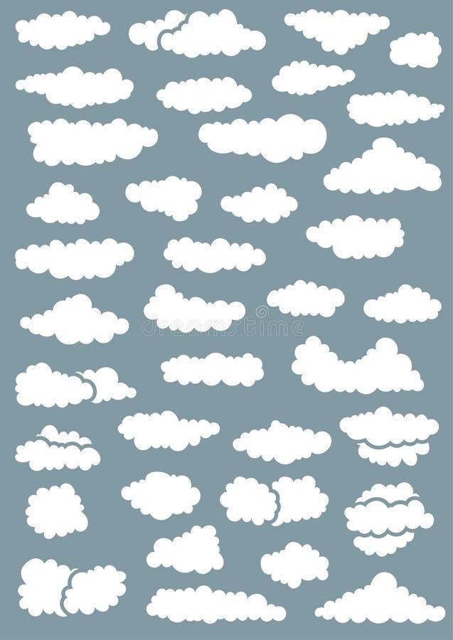 37 случайных форм облака иллюстрация вектора