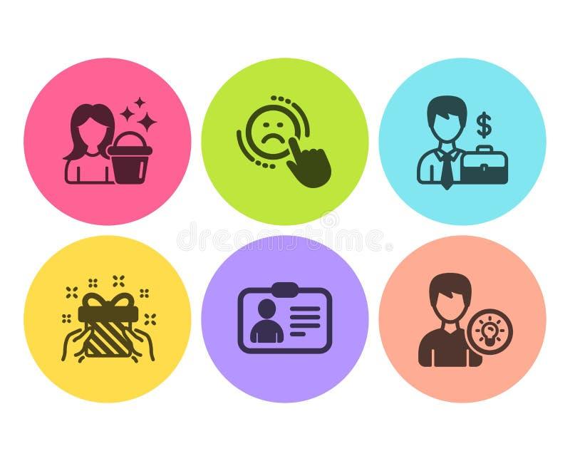 Случай бизнесмена, значки нелюбов и подарка набор Знаки идеи чистки, удостоверения личности и человека r бесплатная иллюстрация