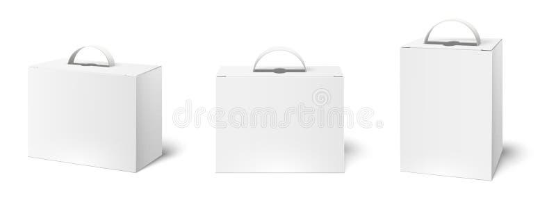 Случай коробки с ручкой Модель-макет коробок пакета, пустые белые упаковывая ручки и продукт картона пакуя вектор 3d бесплатная иллюстрация