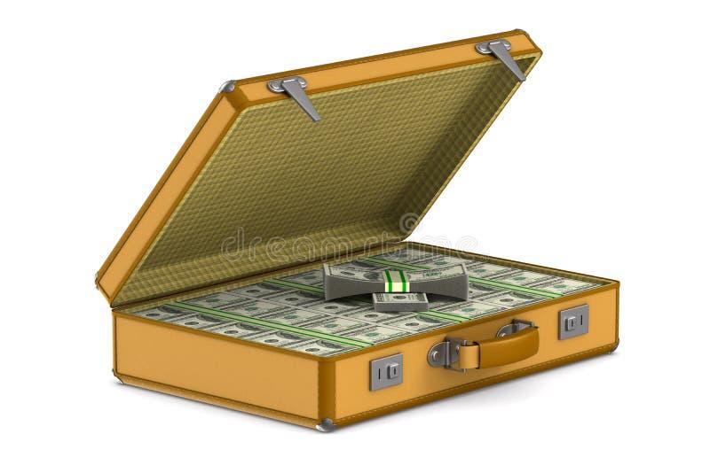 Случай с деньгами наличных денег на белой предпосылке r иллюстрация штока