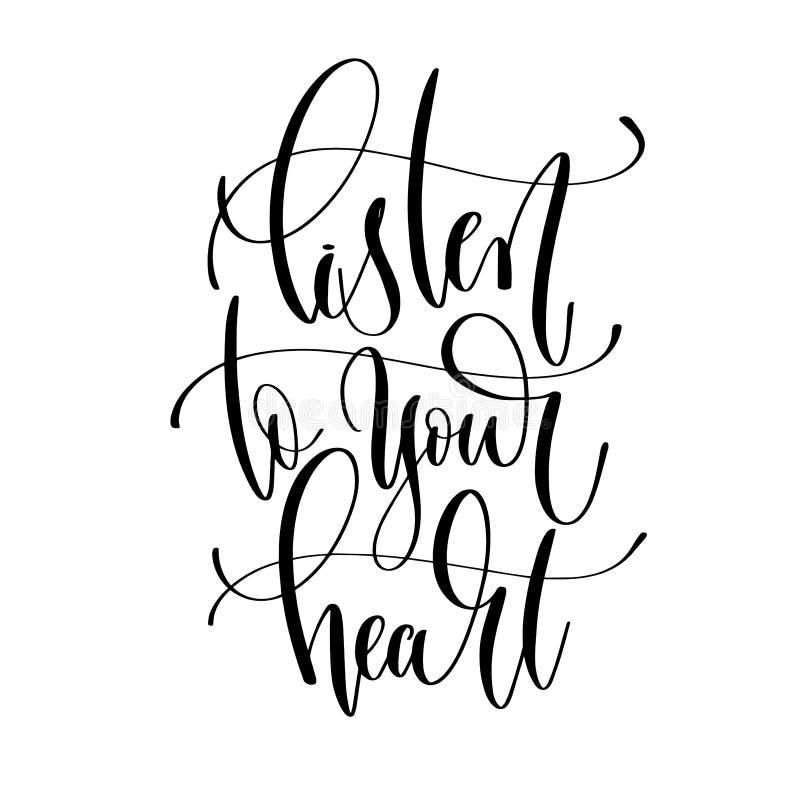 Слушайте к вашему сердцу - вручите элемент оформления верхнего слоя литерности иллюстрация вектора