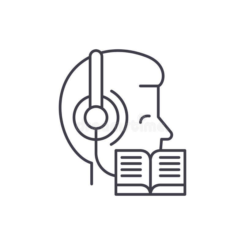 Слушать музыку и чтение линии концепции значка Слушающ музыку и чтение иллюстрации вектора линейной, символ бесплатная иллюстрация
