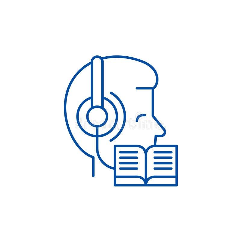 Слушать музыку и чтение линии концепции значка Слушающ музыку и чтение плоского символа вектора, знак, план иллюстрация штока