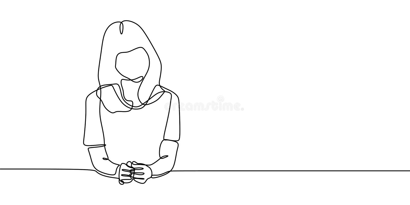 Слушая внушительной девушки элегантная и сидя непрерывная одна линия дизайн иллюстрации вектора чертежа minalistic иллюстрация штока