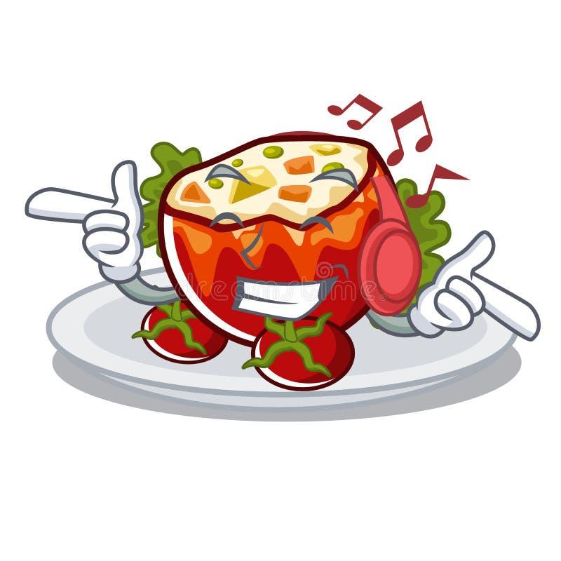 Слушая музыка заполнила томаты на доске мультфильма иллюстрация штока