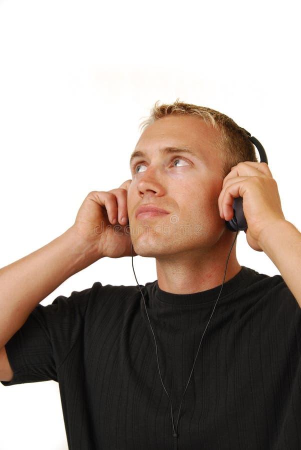 слушая нот человека к стоковая фотография rf