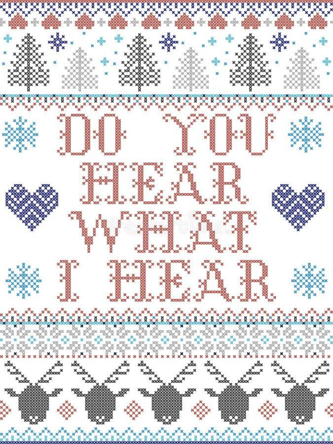 Слышите ли вы, что я слышу Кэрол, в рождественском стиле с скандинавской праздничной зимней моделью в кресте с сердцем стоковая фотография