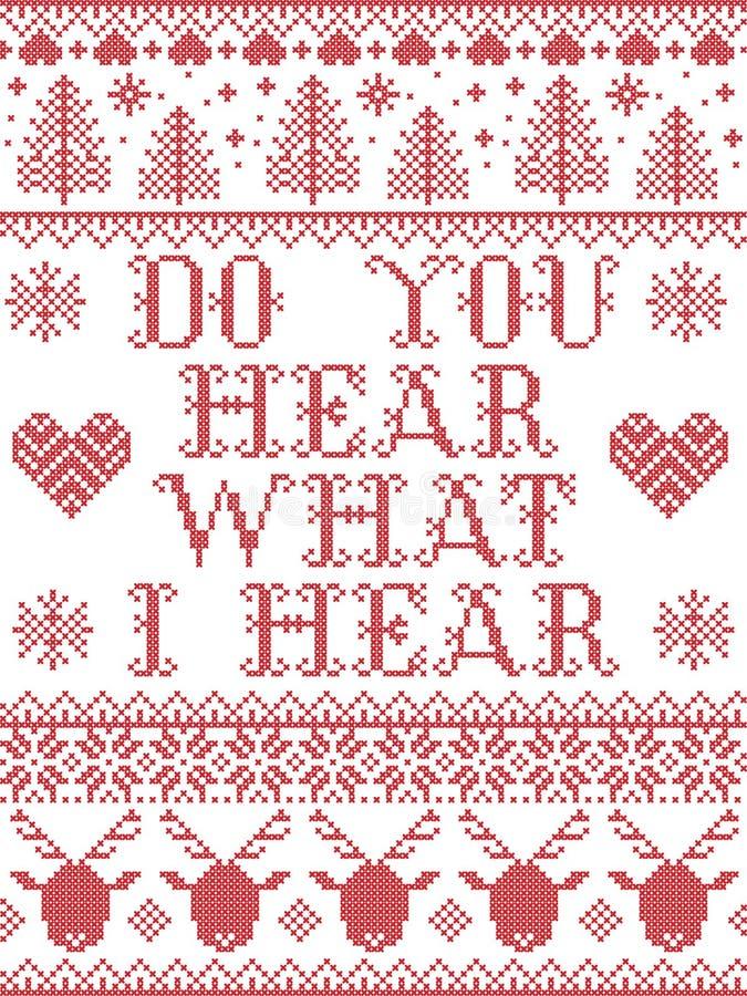 Слышите ли вы, что я слышу Кэрол, тексты песен Christmas pattern со скандинавскими праздничными зимними узорами в кресте с сердца стоковое фото rf