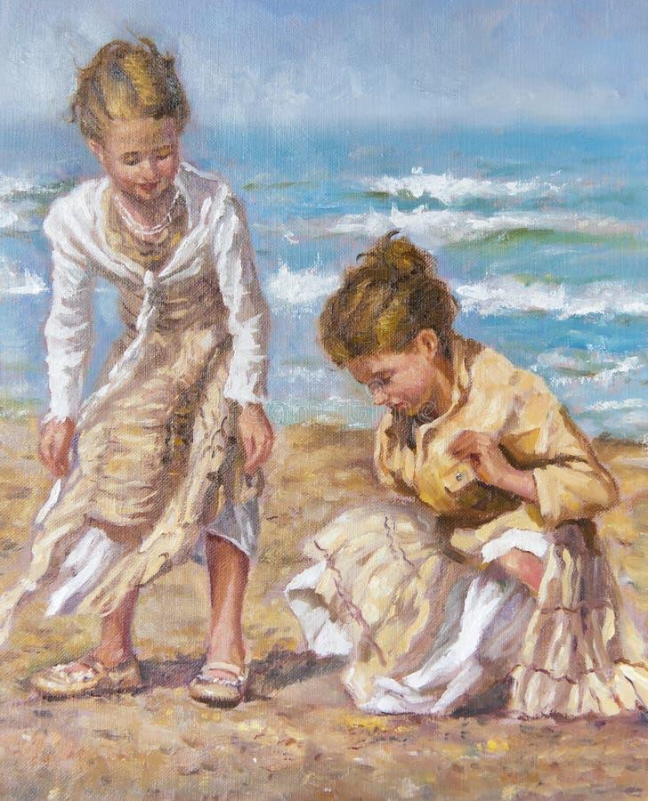 Смажьте на холсте маленьких девочек между песком стоковые фото