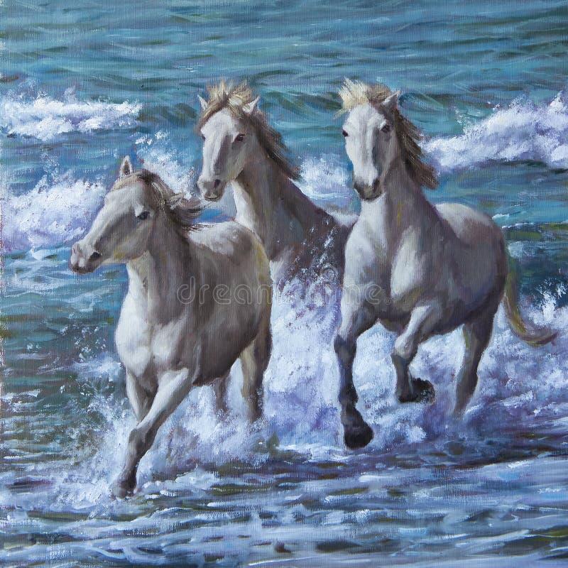 Смажьте на холсте лошадей в волнах моря стоковое изображение