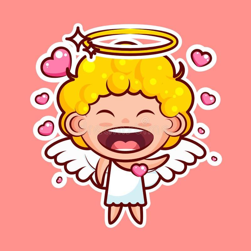 Смайлик emoji стикера, эмоция, вектор изолировал реальность характера иллюстрации счастливую влюбленнуюся сладостную божественную бесплатная иллюстрация