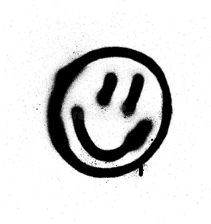 Смайлик стороны граффити усмехаясь в черным по белому бесплатная иллюстрация