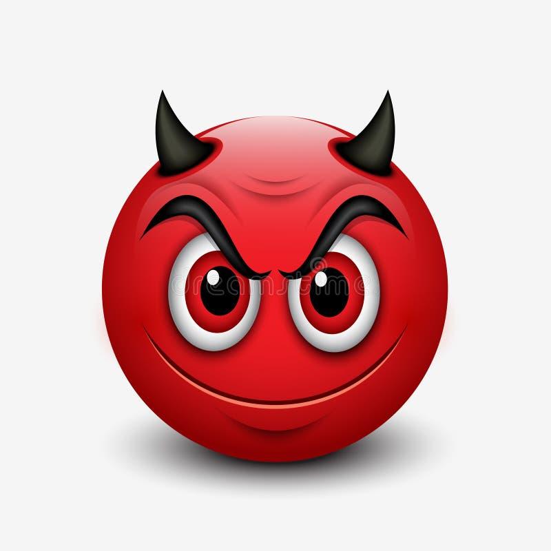 Смайлик дьявола изолированный на белой предпосылке - emoji - иллюстрация иллюстрация штока