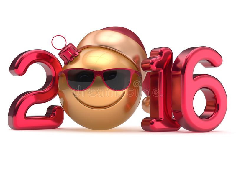 Смайлик smiley даты календаря Eve счастливого нового 2016 год бесплатная иллюстрация