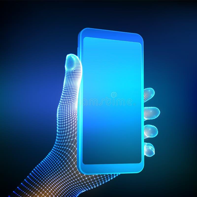 Смартфон в руке Мобильный телефон крупного плана с пустым пустым экраном в руке Концепция смартфона приложения связи Концепция ци иллюстрация штока