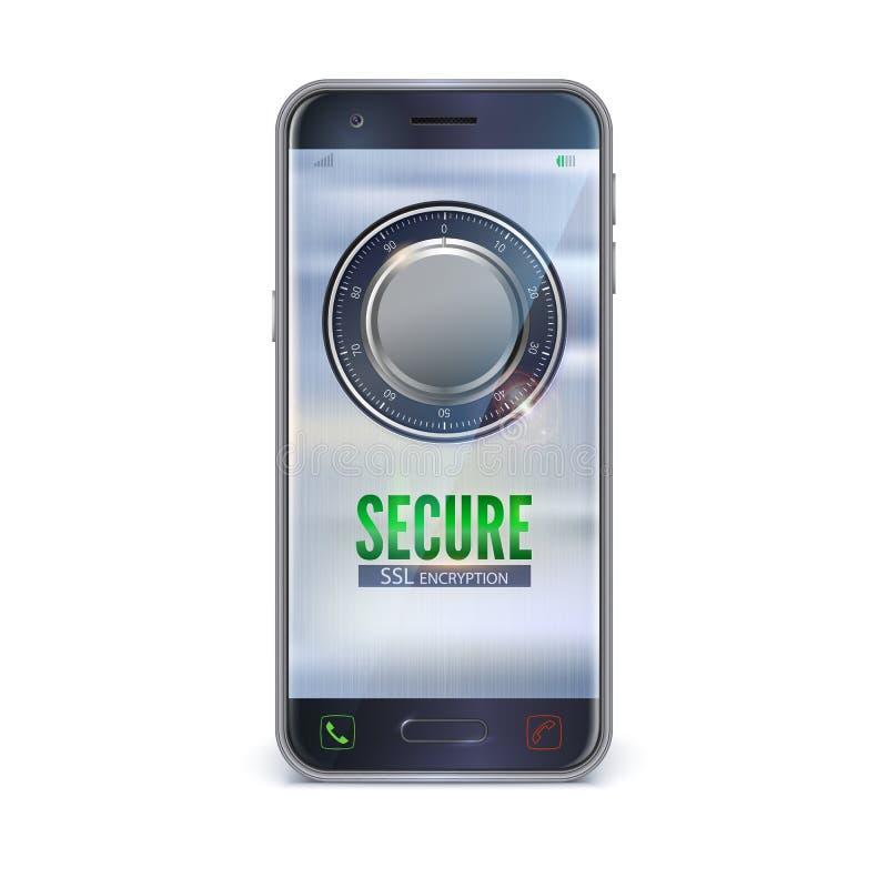 Смартфон, изолированный мобильный телефон Интерфейс входа в охраняемую территорию Интерфейс UI сейфа безопасности для иллюстрация штока