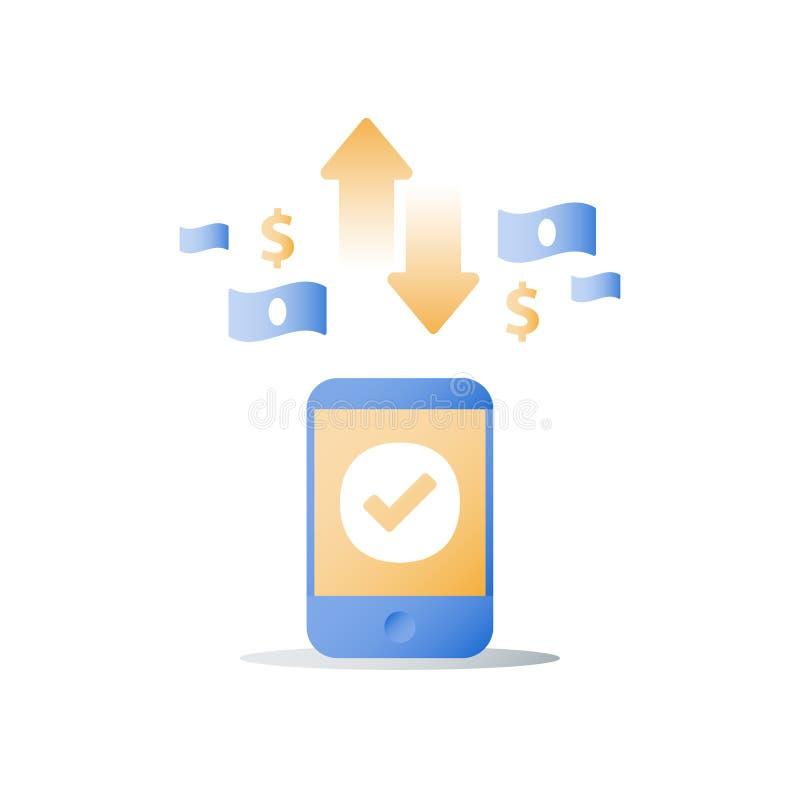 Смартфон и обмен валюты, знак доллара, мобильная оплата, онлайн-банкинг, финансовые обслуживания бесплатная иллюстрация