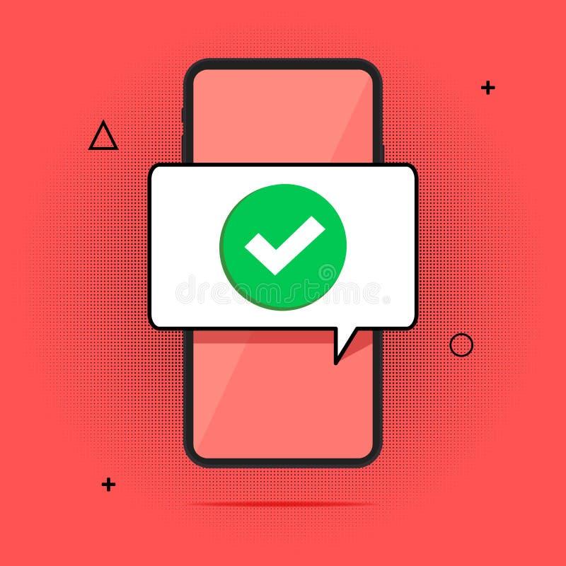 Смартфон и тикание, плоский мобильный телефон мультфильма одобрили тиккер сообщения, идею успешной контрольной пометки, принятый, иллюстрация штока
