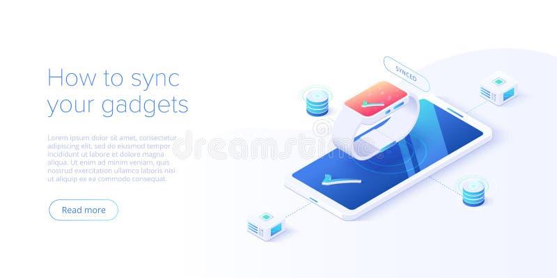 Смартфон и умная концепция синхронизации дозора в равновеликой иллюстрации вектора Беспроводная технология IOT Интернет вещей иллюстрация штока