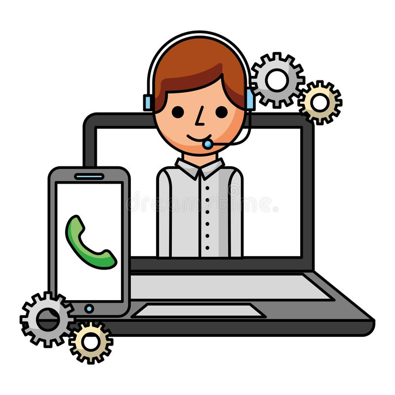 Смартфон мальчика и ноутбука центра телефонного обслуживания иллюстрация штока