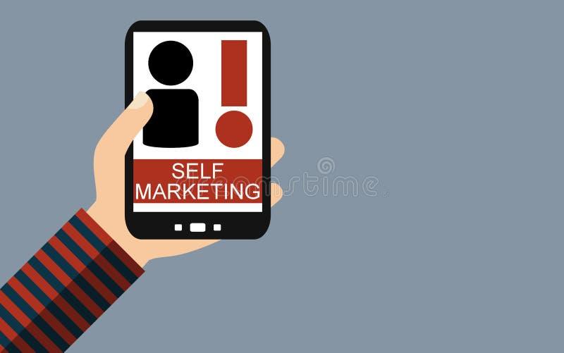 Смартфон: Маркетинг собственной личности - плоский дизайн бесплатная иллюстрация