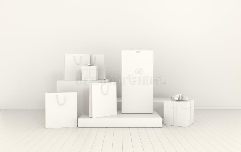 Смартфон, подарочная коробка, предпосылка модель-макета хозяйственной сумки в минимальном стиле Frameless мобильный телефон 3d пр иллюстрация штока