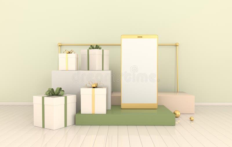 Смартфон, предпосылка модель-макета подарочной коробки в минимальном стиле Frameless мобильный телефон 3d представить Концепция у бесплатная иллюстрация