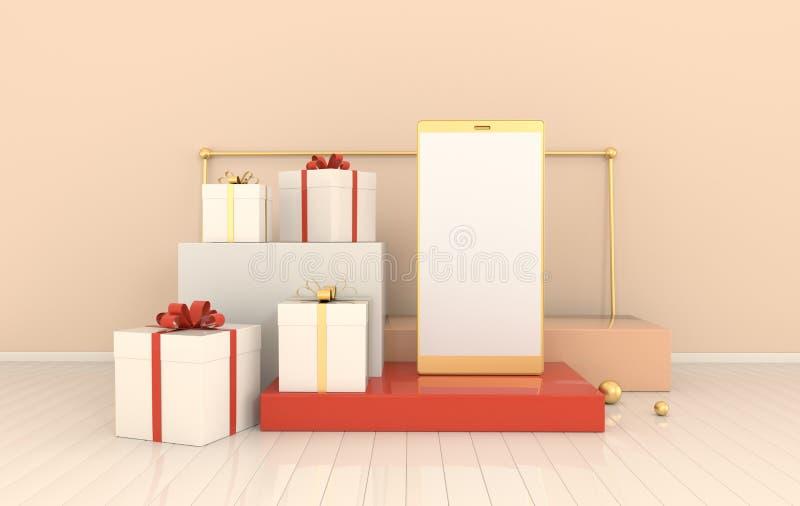 Смартфон, предпосылка модель-макета подарочной коробки в минимальном стиле Frameless мобильный телефон 3d представить Концепция у иллюстрация штока