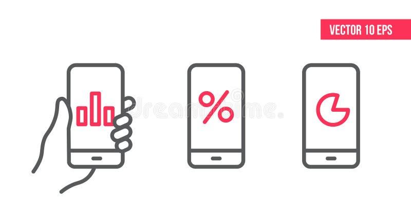 Смартфон со значком диаграммы, вектором диаграммы круга на экране Иллюстрация элемента дизайна вектора, линия значки чернь руки э бесплатная иллюстрация