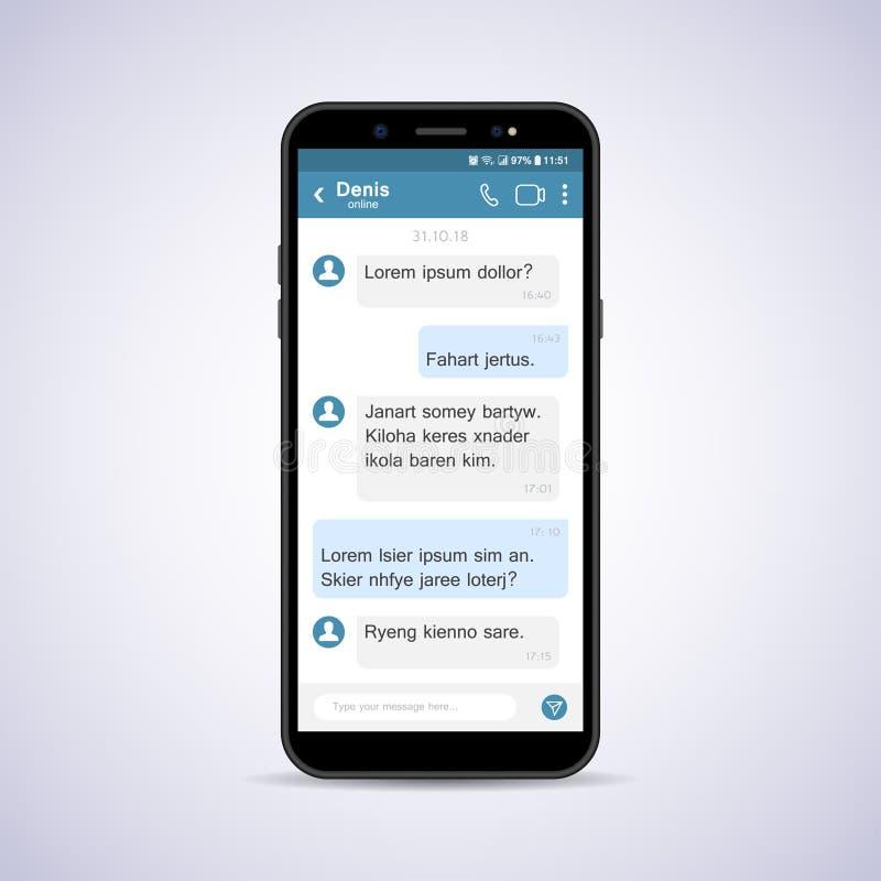 Смартфон с социальной болтовней сети также вектор иллюстрации притяжки corel иллюстрация штока