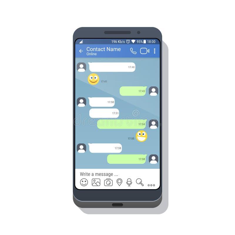 Смартфон с социальным шаблоном применения сети или посыльного для мобильного устройства Концепция интерфейса приложения болтовни  бесплатная иллюстрация