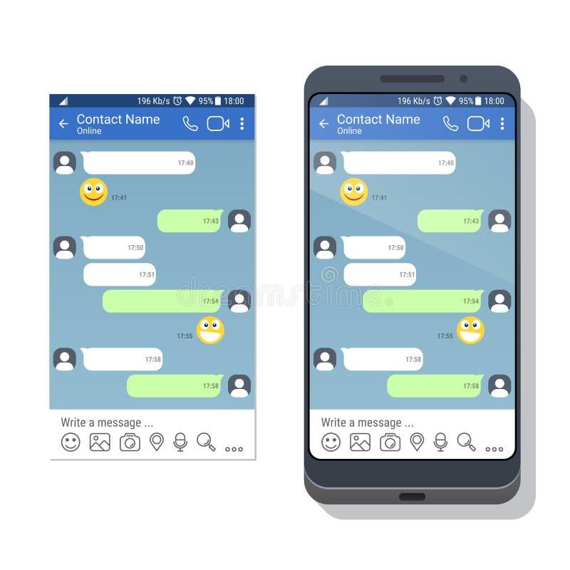 Смартфон с социальным шаблоном применения сети или посыльного для мобильного устройства на экране иллюстрация вектора