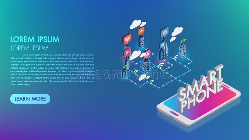 Смартфон с умным городом с умными обслуживаниями и значками Увеличенная концепция реальности и технологии, город ночи, интернет в иллюстрация вектора