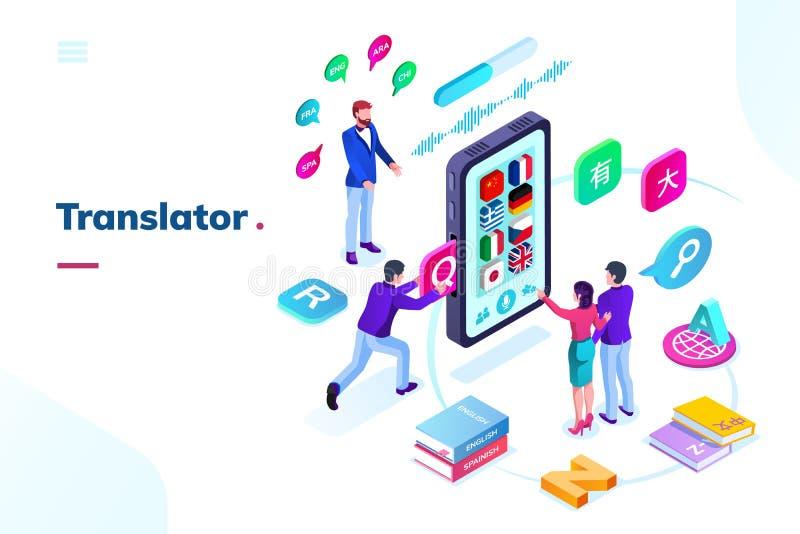 Смартфон, телефон с онлайн переводчиком языка иллюстрация вектора