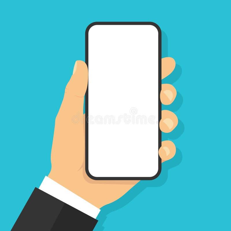 Смартфон удерживания руки Плоский стиль - вектор запаса иллюстрация штока