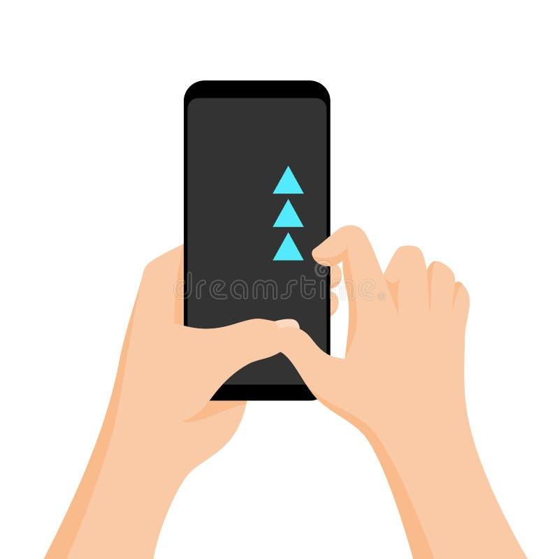 Смартфон удерживания руки с быстрой консультацией на экране Жест экрана касания Иллюстрация мультфильма вектора плоская для иллюстрация штока