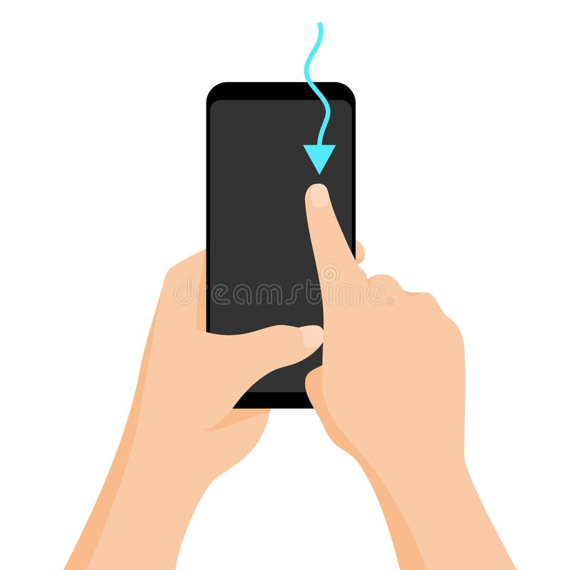 Смартфон удерживания руки с быстрой консультацией на экране Жест экрана касания Иллюстрация мультфильма вектора плоская для бесплатная иллюстрация