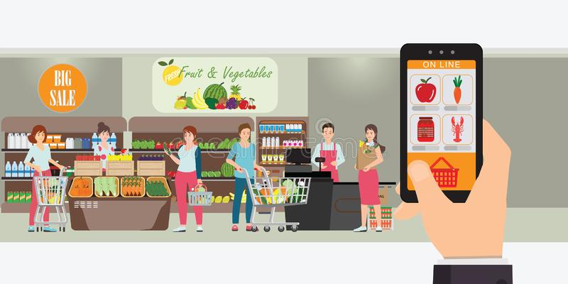 Смартфон удерживания руки с ходя по магазинам приложением, внутренней внутренностью магазина, заказом интернета доставки бакалеи, бесплатная иллюстрация