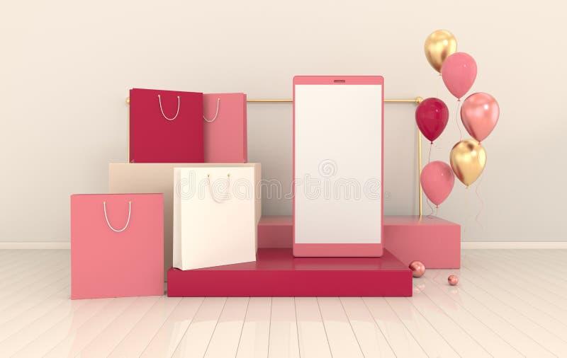 Смартфон, хозяйственная сумка, предпосылка модель-макета воздушных шаров в минимальном стиле Frameless мобильный телефон 3d предс иллюстрация вектора